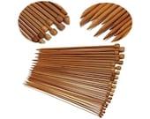 36Pcs 18 Pairs Carbonized Bamboo Single Pointed Knitting Needles 25cm long