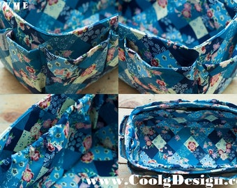 Purse ORGANIZER insert, Bag Organizer, Extra Sturdy, Blue Floral, Extra Large 30x12cm