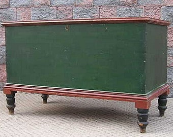 Antique RARE & SIGNED Paint Pennsylvania MAHANTONGO Dowry Blanket Chest Trunk