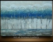 Abstract Painting Big Custom Original Texture Modern Aqua Blue Silver Tree Metallic Sculpture Knife Painting by Je Hlobik