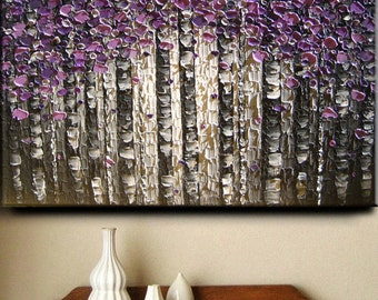 Abstract Painting Big Original Texture Modern Purple Gray Pewter White Birch Aspen Tree Sculpture Knife Painting by Je Hlobik