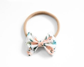 Floral Classic Fabric Bow     Clip or Headband    Newborn, Baby, Toddler Bows