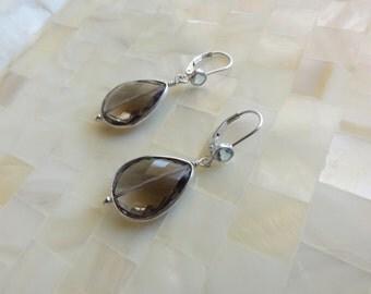 Faceted Smoky Quartz Sterling Silver Bezel Dangles on Blue Topaz Bezel Sterling Silver Leverback Earrings (E1250)