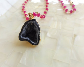 Gold Edge Sparkling Black Druzy Pendant on Hot Pink Jade Rondelle Vermeil Wire Wrapped Chain Necklace (N1726)