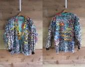 90s Paula Sweet Muslin Mink Baggy Blazer Rainbow Large