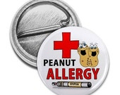 PEANUT ALLERGY Medical Alert Pinback Button Badge(Choose Size)