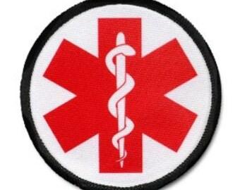 RED SYMBOL Medical Alert Symbol Black Rim Sew-on Patch (Choose Size)