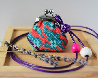 Tiny Frame Purse Necklace - Lavender Sachet - Length Adjustable, made from Japanese fabric - Pixels