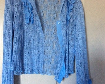 Crochet lace ruffle blouse new Longslv XL button front by wish label polyester blue