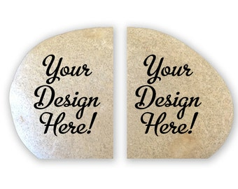 Engraved Stone Bookends personalized or custom designs from natural stone and engraved by hand -9658 Your Design Here!