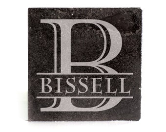 Personalized Coasters Set of 4 - black granite laser - 9967 Monogram with Name thru Initial