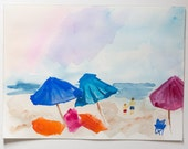 9 x 12 beach scene watercolor