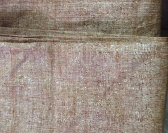 Hand woven Raw silk fabric ~ light brown ~