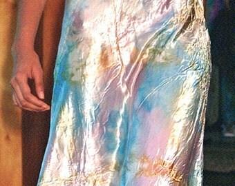 opalescent long silk wedding dress boho bridal mother of the bride beach wedding dresses bridesmaid dresses pink blu silver cream tie dye