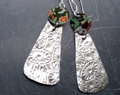 Pressed Vintage Tin Long Dangle Earrings, 10th  Anniversary, Very Light Weight, Sterling Earwires