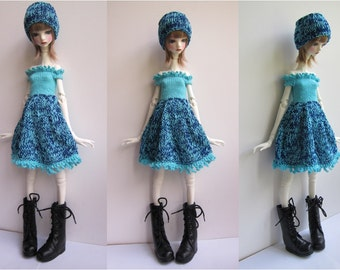 Doll-Chateau KID: Knitted Off-Shoulder Full-Skirted Dress with matching Headband