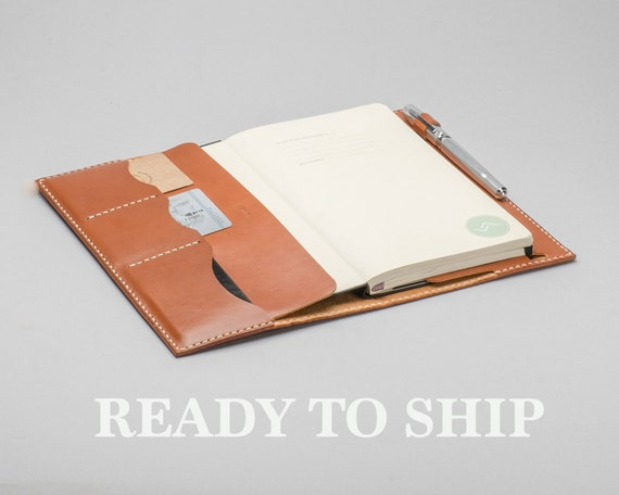 Personalized Leather Journal Cover, Moleskine / Notebook case, Rust Brown Color, Name Engrave, Hand Stitched by HarLex