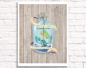 Hold on - mermaid in a bottle art print