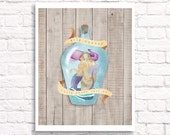 Wild Oceans - mermaid in a bottle digital art print