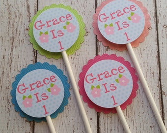 Flower Cupcake Toppers - Spring Cupcake Toppers - Flower Party Decor - Spring Party Decor - Fairy Theme Party - Garden Party Decor