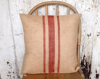 Burlap Rustic Red Striped Pillow Grain Sack Pillow Cover/ Cabin, Farmhouse Accent Pillow by sweet janes plan