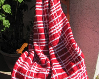 Hand Knitted Blanket OOAK Plaid Bright Red and White
