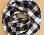 FLANNEL infinity scarf - black and white logger plaid