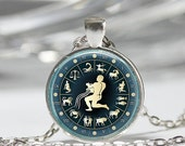 ON SALE Aquarius Necklace Zodiac Jewelry January February Birthdays Astrology Art Pendant in Bronze or Silver with Link Chain Included