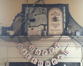 Happy Halloween Banner Sign For Halloween Party Decor and Fall Decorations / Party and Decorations Halloween Decorations
