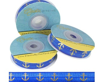 "Sapphire Blue with Gold Anchors - Fold Over Elastic - Solid FOE - 5/8"" Wide - 5 Yards Wholesale"