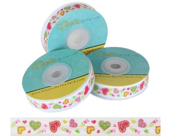 Glitter Hearts - Print Fold Over Elastic - 5 YARDS