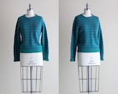 English Knit Pullover . Wool Sweater . Green and Purple Striped Boyrfirend Sweater