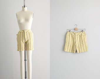 Womens Bermuda Shorts . 1950s Striped Shorts . Pinup Retro Shorts