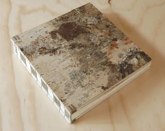 large wood wedding guest book birch bark cabin guest book - large journal anniversary gift gray rustic white neutral - made to order