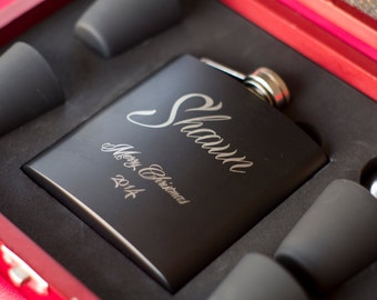 7 Personalized Flasks Custom Engraved Black Flasks - SEVEN Custom Engraved Black Flasks Gift Sets