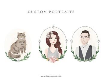 Custom hand drawn portrait. Portrait Illustration.