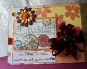 Its time to take control of your life, encouragement card for friend, friendship card, handmade card for best friend, clock card