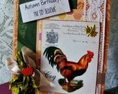 Autumn Birthday card, Autumn greeting card, handmade fall card, happy autumn birthday, seasonal birthday, Rooster card, fall colors card