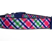 Pink Navy Dog Collar / Madras Dog Collar / Pink Plaid Dog Collar / Argyle Dog Collar / Nylon Webbing Dog Collar / Pink Navy Plaid Collar