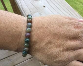 Men's Fancy Jasper Stone Beaded Bracelet - Stretchy Bracelet- Fancy Jasper Stone- Stone Bracelet