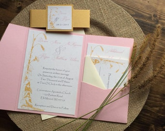 Rustic Wedding Invitation, Country Wedding Invitation, Pocketfold Wedding Invitation, Pink & Gold Wedding Invitation, Custom Wedding