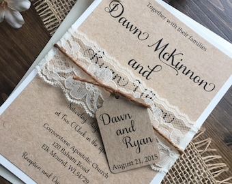 Rustic Wedding Invitations Wedding by DawnMarieCreations82 on Etsy