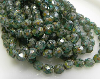 6mm Faceted Round Beads, Green Aqua with Picasso Finish, Czech Glass, Firepolished Beauties, Full strand, 25 Pcs.