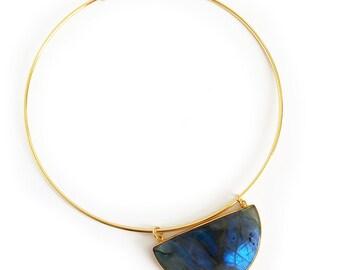 Labradorite Half Moon Choker - Choker, Labradorite necklace, half moon gemstone