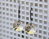 Titanium Dangle Earrings, Light Silk Swarovski Crystal Rivolis on Titanium Kidney Wires, Hypoallergenic
