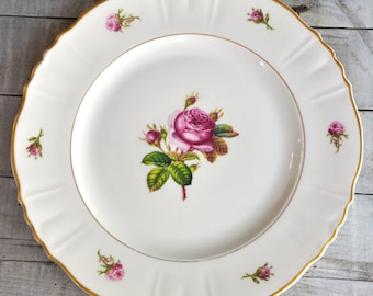 Federal Shape Syracuse China - Vintage Pink Rose Floral Dinner Plate