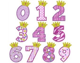 APPLIQUE PRINCESS NUMBERS - Machine Applique Embroidery - Instant Digital Download