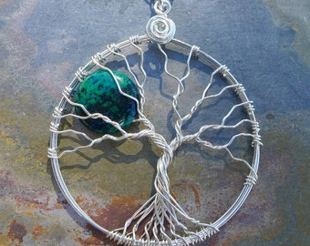 Chrysocollar Tree of Life Necklace Sterling Silver, Chrysocollar Moon Tree of Life Pendant,Wire Wrapped Chrysocollar tree of Necklace