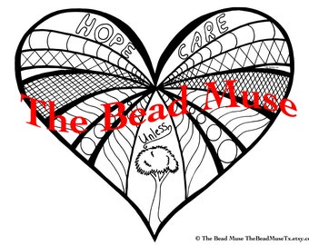 Hand drawn heart for Coloring- printable PDF download 11
