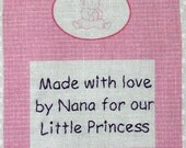 Baby Quilt Label - Baby Girl & Bottle, Custom Made and Hand Embroidered